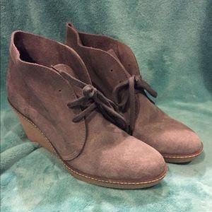 Grey suede J. Crew platform lace-up boots